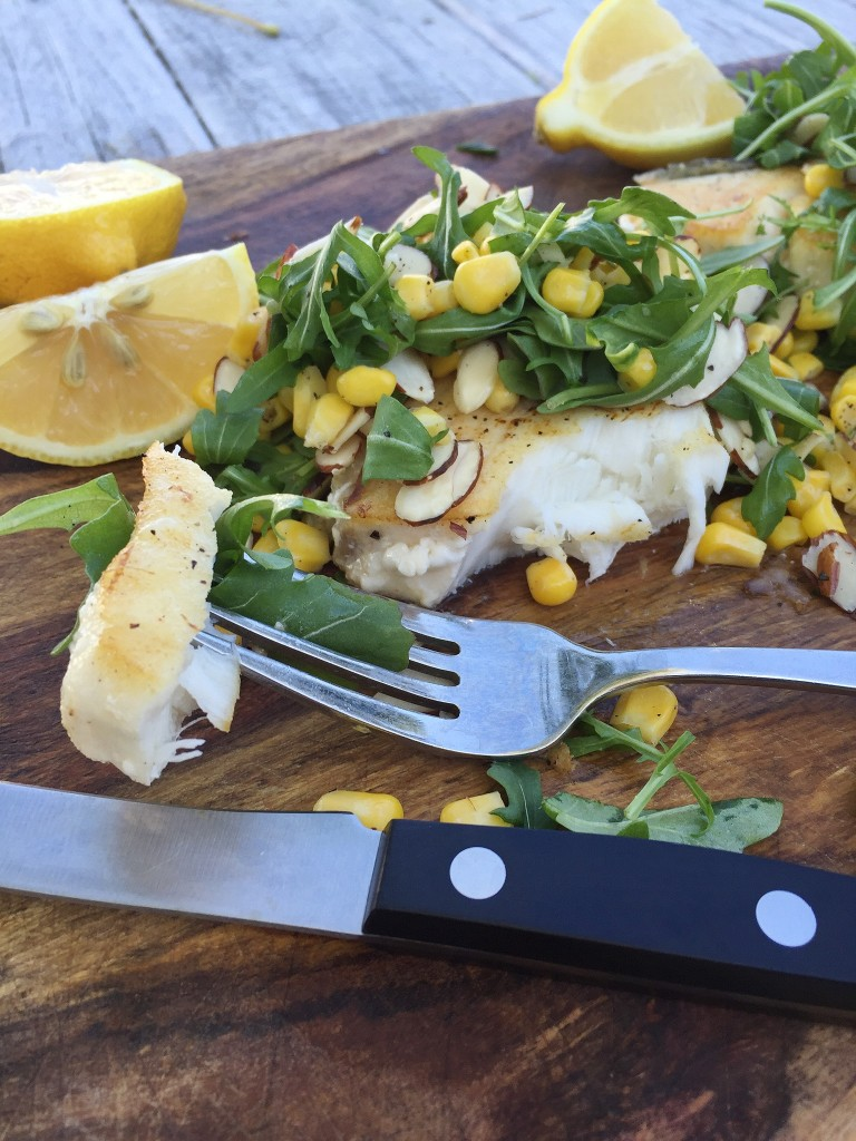 Josh's Halibut with Arugula and Corn Salad / laurenariza.com